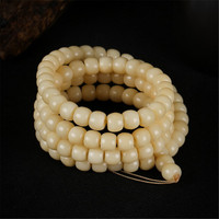 Classic Natural Oil Smooth Camel Bone Buddha Drum Beads Bracelet 108 Mala for Men and Women DIY Jewelry Accessories Wholesale
