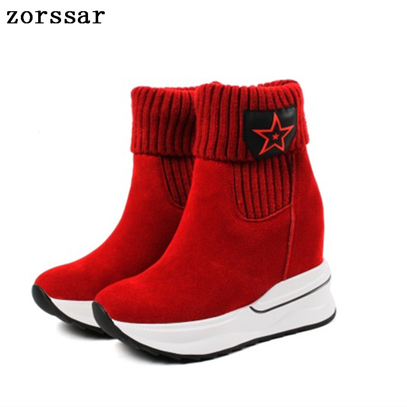 {Zorssar} 2018 fashion women winter boots sued leather height increasing boots womens ankle sock boots High heels Platform shoes zorssar 2017 new winter female shoes suede platform height increasing ankle snow boots fashion buckle high heels women boots