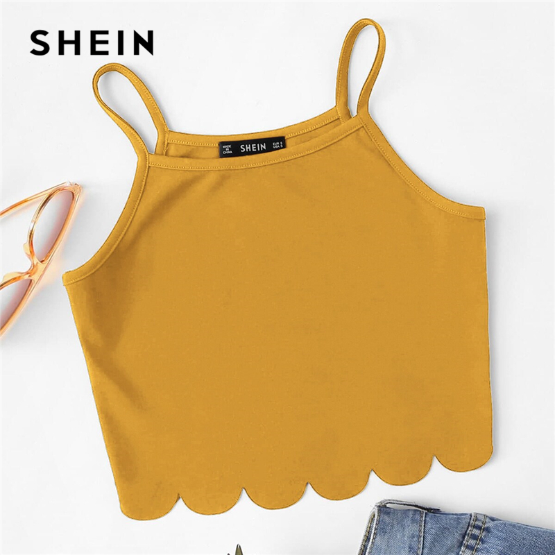 Image 5 - SHEIN Summer Red Tank Crop Top Vest Woman Vacation Casual Scallop Hem Crop Spaghetti Strap Slim Cami Top-in Camis from Women's Clothing