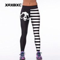 008 High Waist Workout Silm Fitness Women Leggings Elastic Pants Trousers Sexy Girl Fashion Skull Black