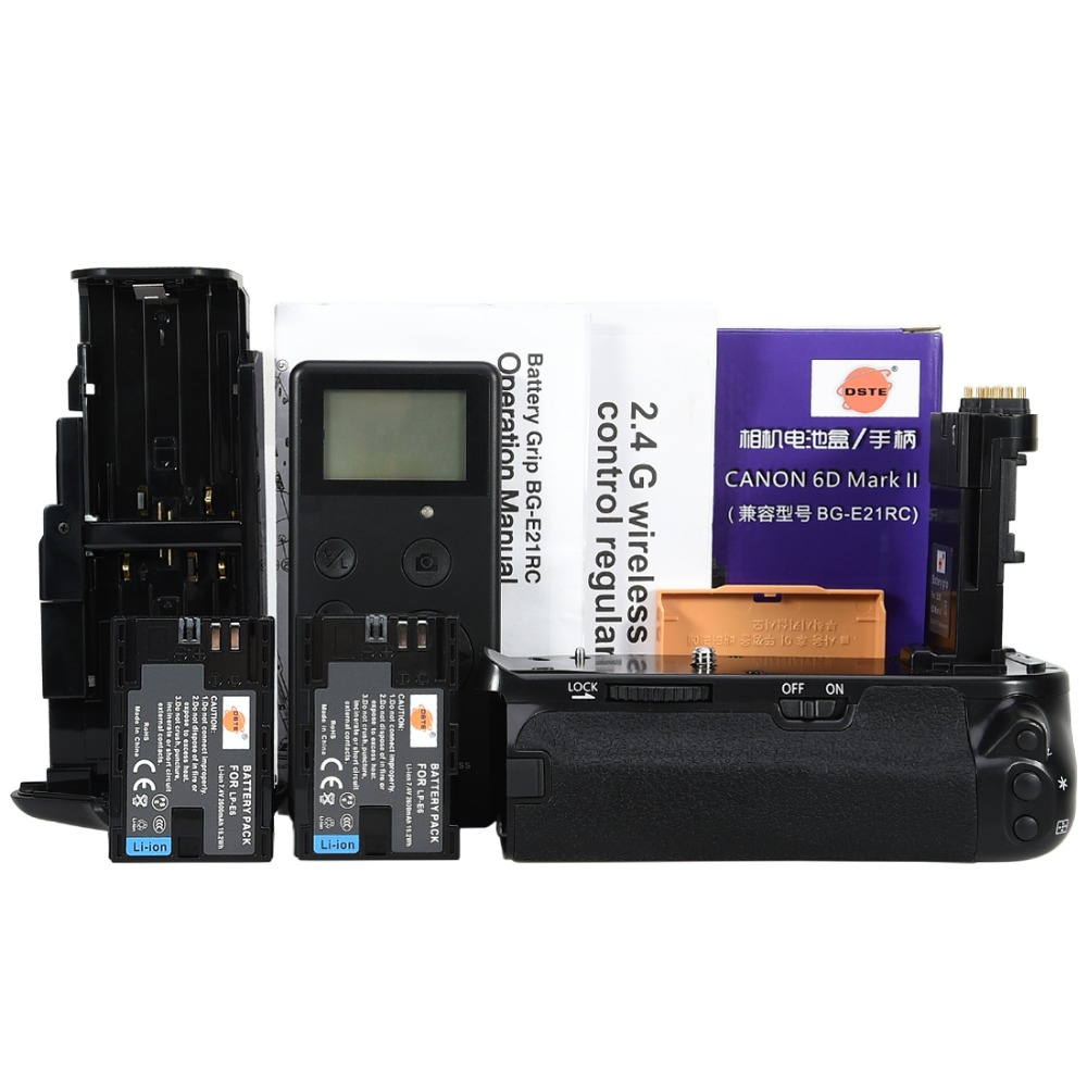 DSTE BG-E21 pro battery grip +2.4G wireless remote control fits for CANON 6D Mark II.Equipped with 2PCS LP-E6N