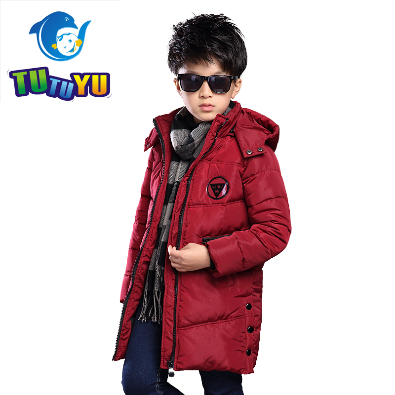 TUTUYU Boys Winter Down Jacket Warm Hooded Children Plus Velvet Clothes Thicking Coat for Kids Teenage Winter Outerwear DW275 boys thick down jacket 2018 new winter new children raccoon fur warm coat clothing boys hooded down outerwear 20 30degree