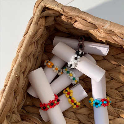 Fashion Trendy Korean  Bohemia Multi-color Small Flowers Rice Beads Ring Women Girl Jewelry Handmade Weave Style Ring