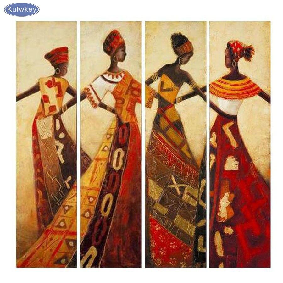 4 pcs/set,abstract portrait dancing African Women,Diamond Embroidery ,Handmade,Mosaic,5d Diy Diamond Painting Cross Stitch decor