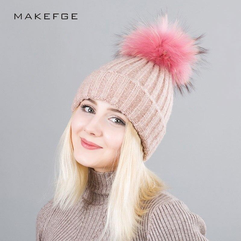 Winter Women Hat Wool Cap For Girls Warm Ski Fur Hats Pompons Hat Dyeing  Raccoon Fur Ball Cap 330dfec3c