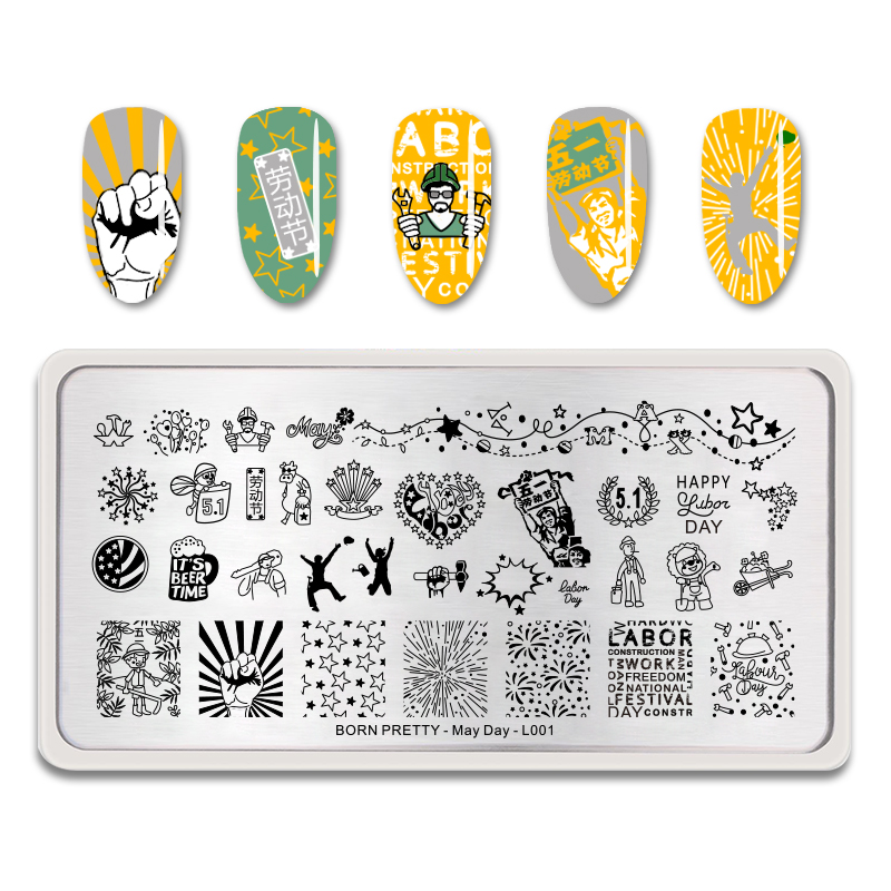 <font><b>BORN</b></font> <font><b>PRETTY</b></font> Rectangle Nail Art Image Template May Day Series <font><b>L001</b></font> Stainless Steel Nail Stamping Plate Manicure image