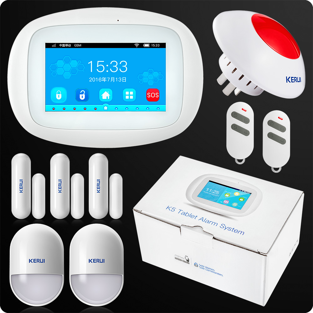 KERUI K52 4.3 Inch TFT Color Screen Wireless Security Alarm WIFI GSM Alarm System APP Control Wired Siren Orignal PackageKERUI K52 4.3 Inch TFT Color Screen Wireless Security Alarm WIFI GSM Alarm System APP Control Wired Siren Orignal Package