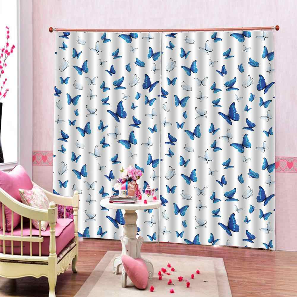 Luxury 3D Window Curtain living room Shower Hooks blue butterfly for bedroom living room Blackout curtain