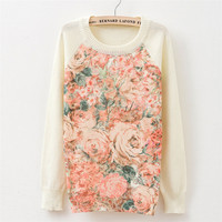 2016 Autumn Fashion Women Long Sleeve Sweater Tops Chinese Ink Wash Painting Knitted Pullovers