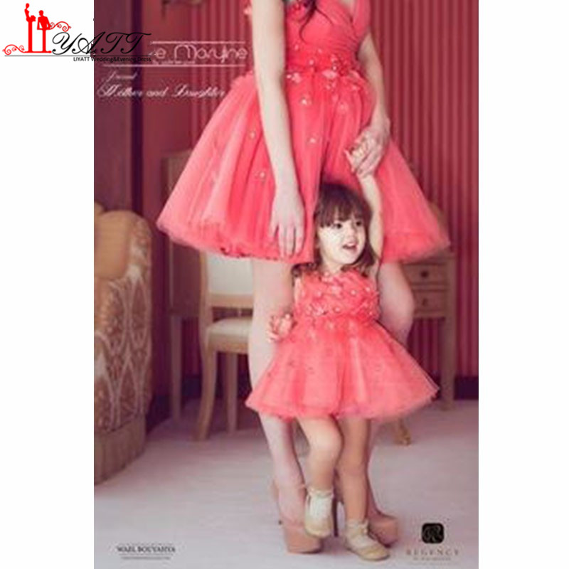 2017 new mother and daughter matching dresses custom for Matching wedding and flower girl dresses