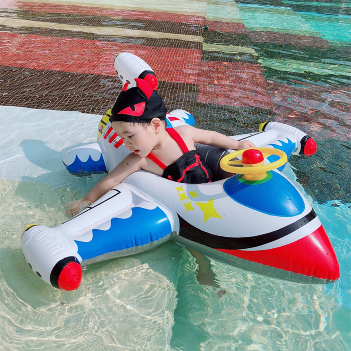 Inflatable Float Plane Seat Boat Baby Kid Swim Pool Swimming Ring Wheel Fun Toy Safer Easy Maneuverability Stable Bright Color