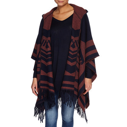 2015 Brand Print  Poncho Capes Shawls with Tassels Red Grey Colorful Sweater Winter Women Hood 170*94cm