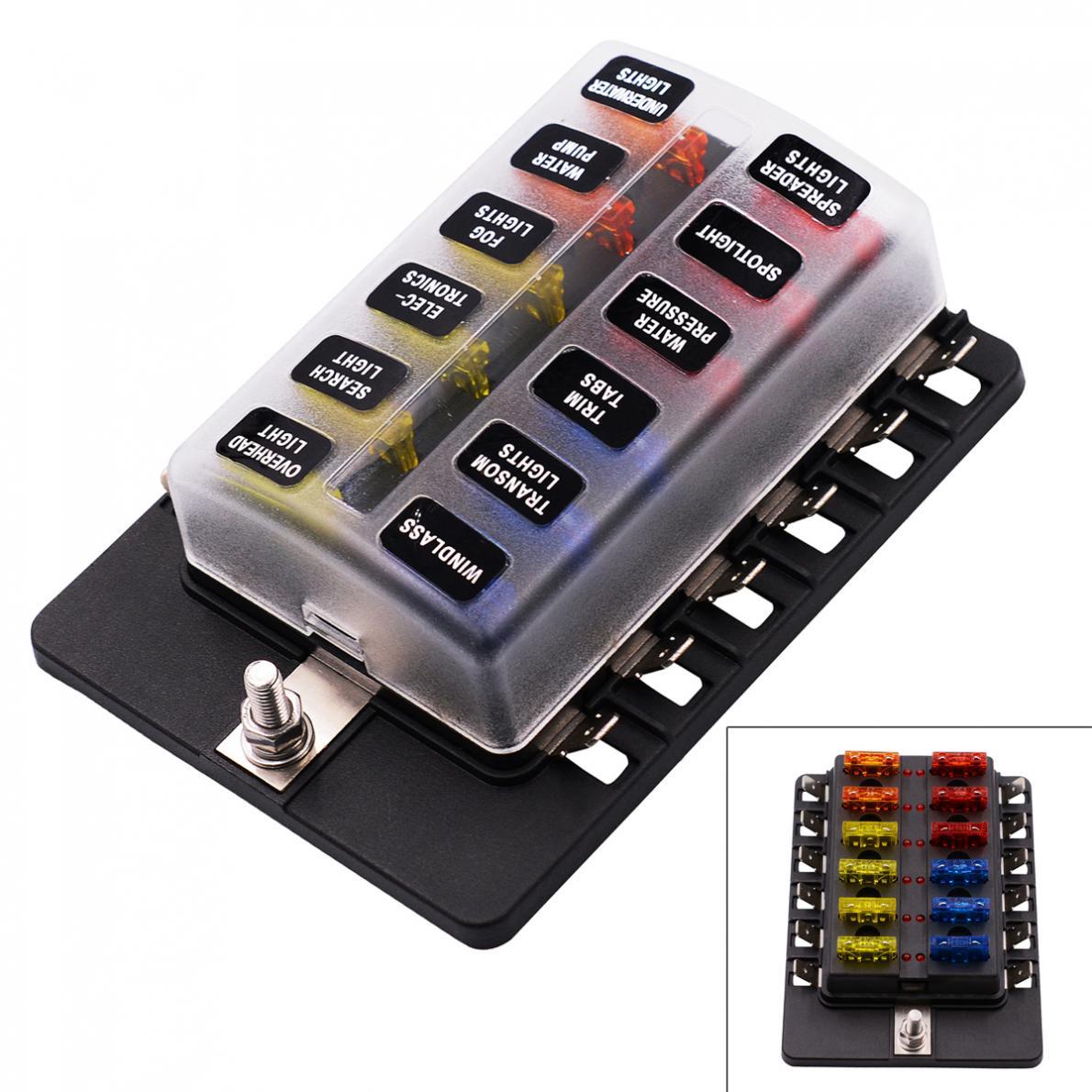 max 100a 32v plastic cover 12 way blade fuse box holder m5. Black Bedroom Furniture Sets. Home Design Ideas