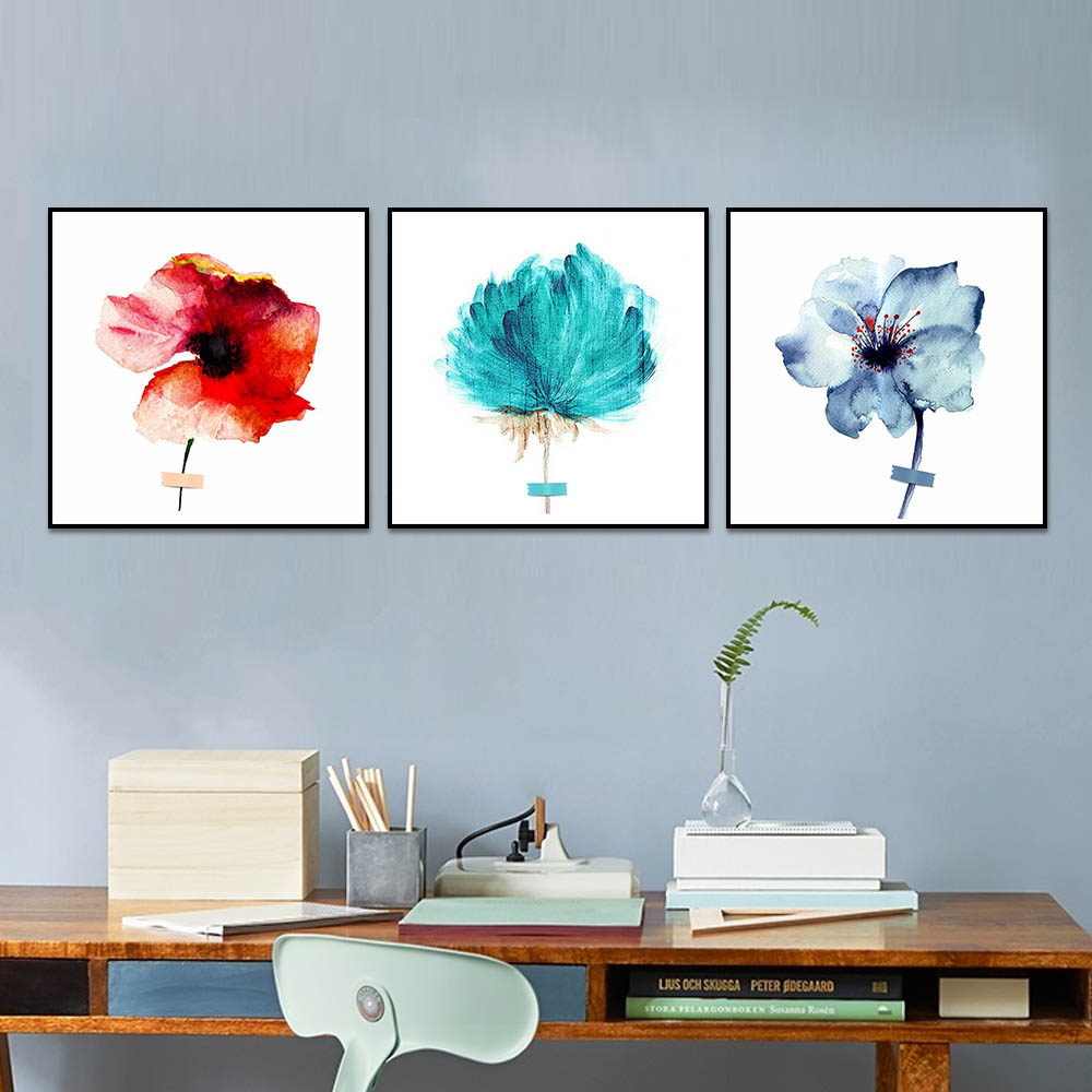 Unframed Canvas Print Painting Watercolor Colored Flowers Chrysanthemum Print Wall Picture For Living Room Wall Art Decoration