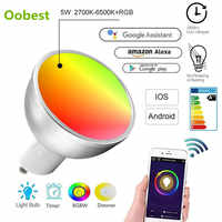 Bombillas inteligentes GU10 WiFi LED Bombillas 5W RGB + W lámpara regulable lámpara hogar Decoración aplicaciones trabajo remoto con Alexa/Google/IFTTT