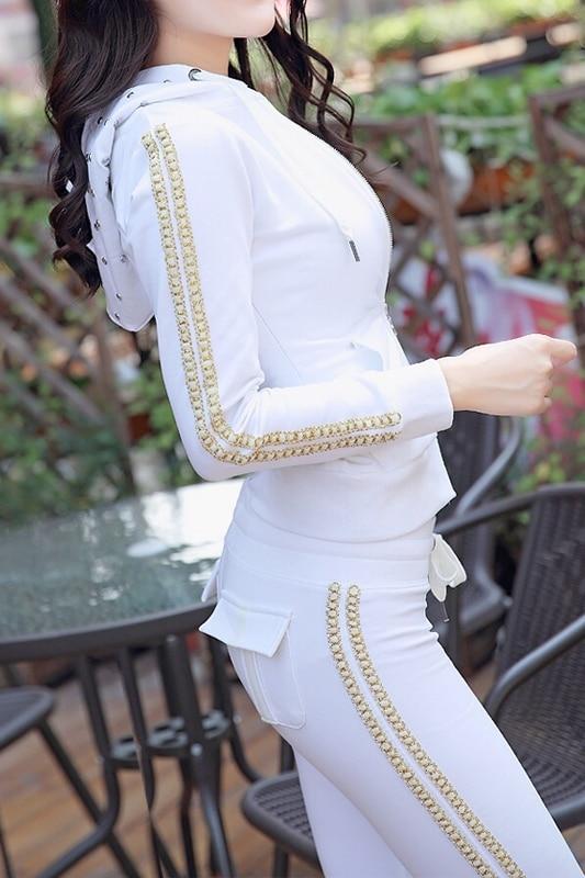 Pantalon Costume Ensembles Fermeture Chaude Bande 2 À Femmes Forage Capuche Deux Glissière Loisirs noir Pleine Blanc Automne Verticale 2018 Mode De Coton Nouvelle wPqTP