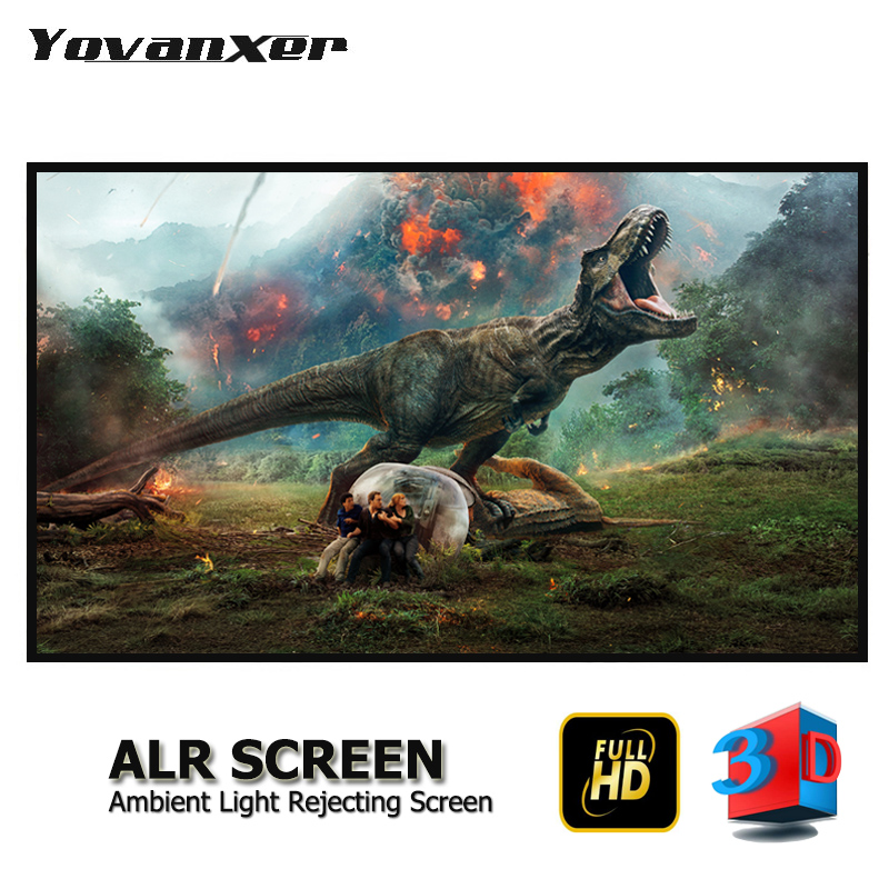 "Ambient Light Rejecting ALR Slim Frame Projector Screen 80"" - 150"" Ultra-thin Border Fixed Frame Anti-light Projection Screens"