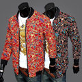 2015  Autumn winter Chinese Festive red Flower color printed jackets men casual slim joker jacket Outerwear for men M-2XL