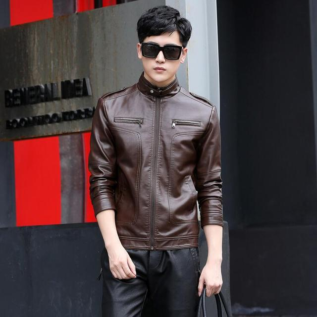 Hot Spring Autumn Brand Black Leather Jacket Men Slim Short Stand Collar Jaqueta Couro Bomber Jacket Faux Leather Fur Coat M-5XL