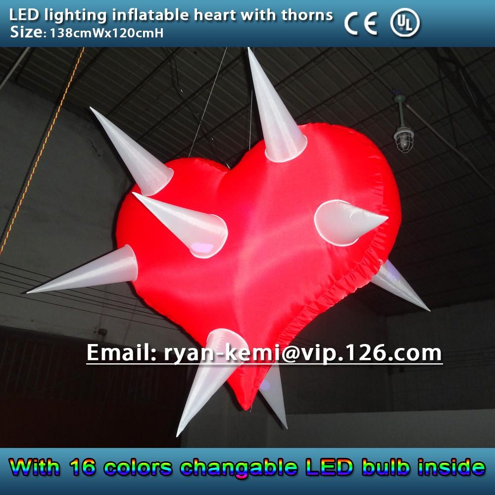LED lighting inflatable heart