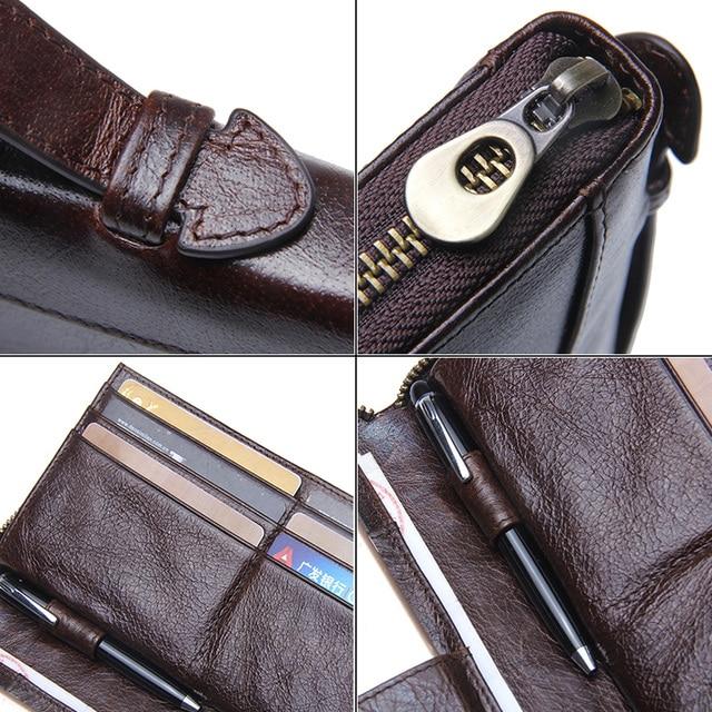 Genuine Leather Men Clutch Wallet  Brand Male Card Holder Long  Zipper Around Travel Purse With Passport Holder 6.5 4
