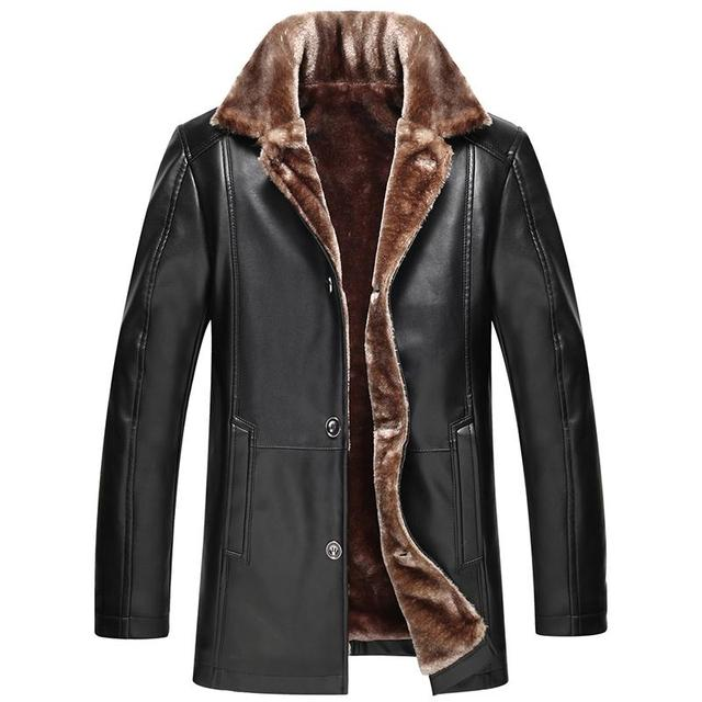 Russian Winter Thick Leather Garment Business Casual Leather Jacket Lapel Cashmere Lined High Quality Warm PU Coat Big sizeM-4XL