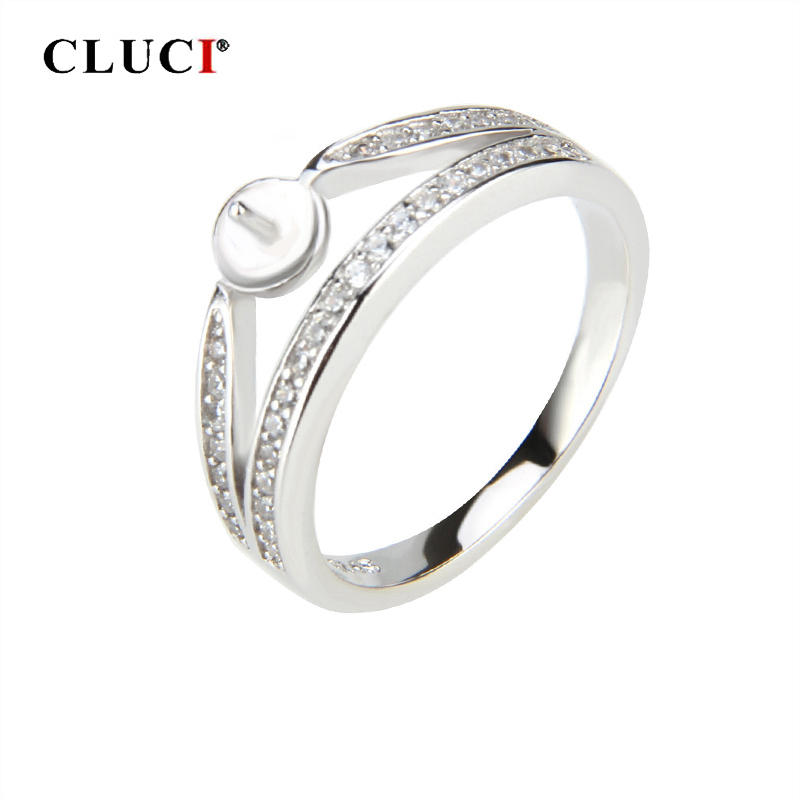 CLUCI Real Silver 925 Zircon Crown Rings for Women Wedding ...
