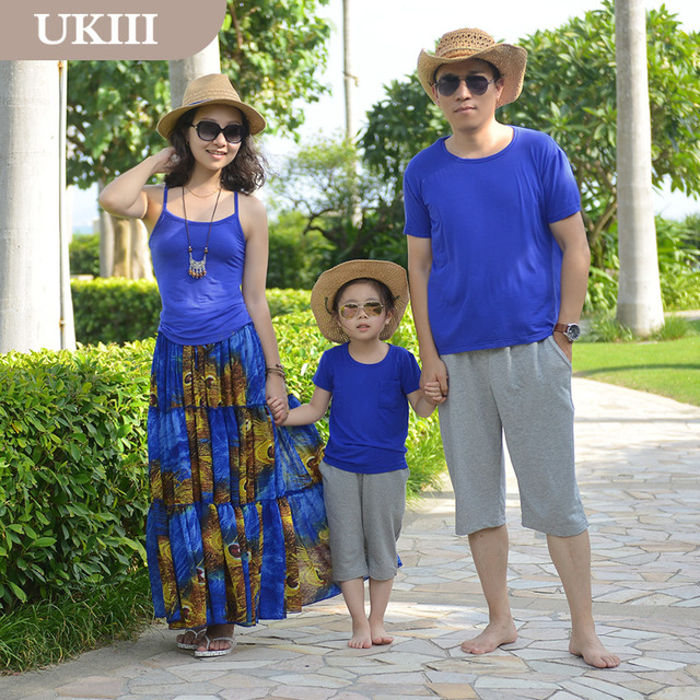Family fitted Vacation Holiday Royal blue peacock beach dress skirt mother daughter Girl dress and Father son shirt pants sets