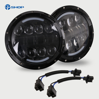 2PCS 7 inch 80W Round LED Headlights H4 DRL White/Amber Turn Signal Lights with adapter for JEEP wrangler TJ 4x4 Niva off road