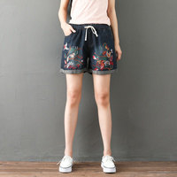 Ethnic Style Women's Short 2018 Summer Embroidery Short Jeans Elastic Waist Shorts Casual Womens Denim Shorts