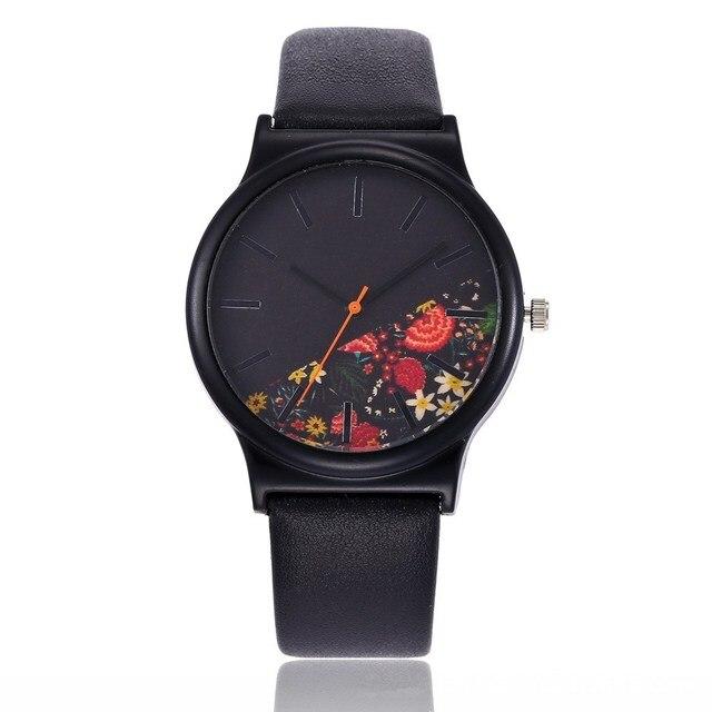 Gift Floral dial Design Black Case Japan Resistant Life Watch Women Relogio Feminino Watches Lady reloj mujer bayan kol saati