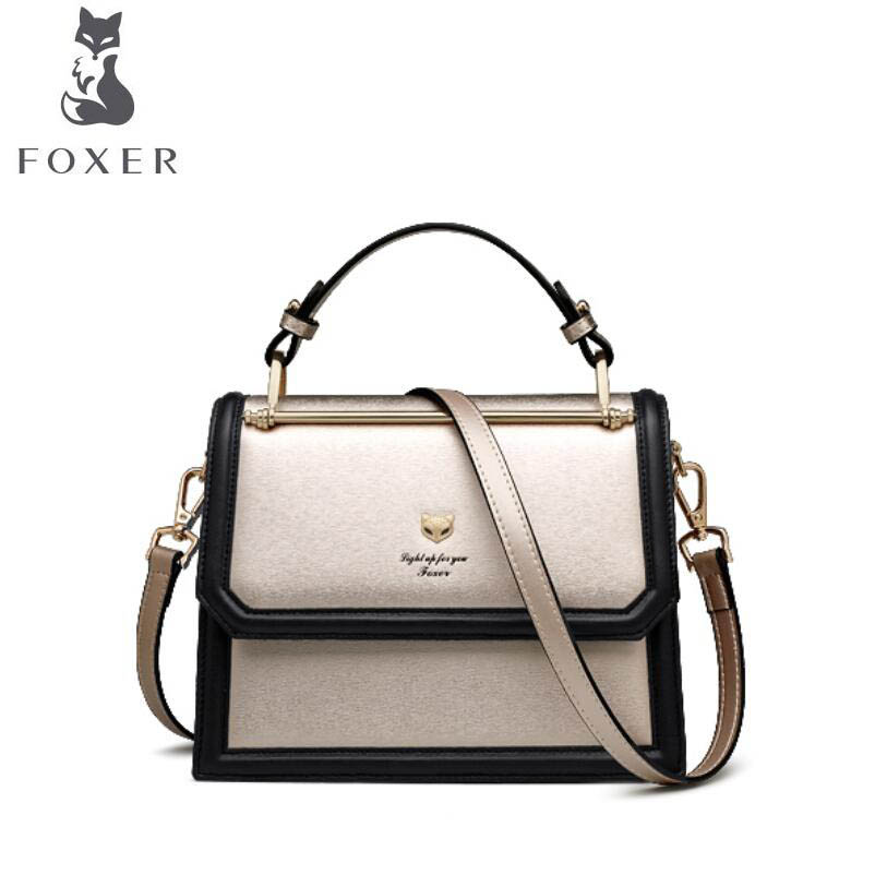 FOXER gold fox portable small bag female 2019 new personality contrast color single shoulder simple organ slanting square bagFOXER gold fox portable small bag female 2019 new personality contrast color single shoulder simple organ slanting square bag