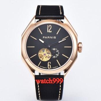 43mm Parnis rose gold luminous sapphire crystal automatic men's watch black waterproof mechanical men watches