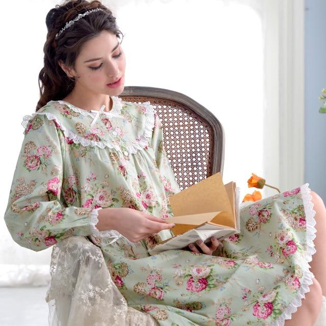 89dd4c3f95 Women s 100% Cotton Printed Floral Nightdress Long Sleeves Sleep Dress Ladies  Nightgown Lace Knee-length Cute Girls