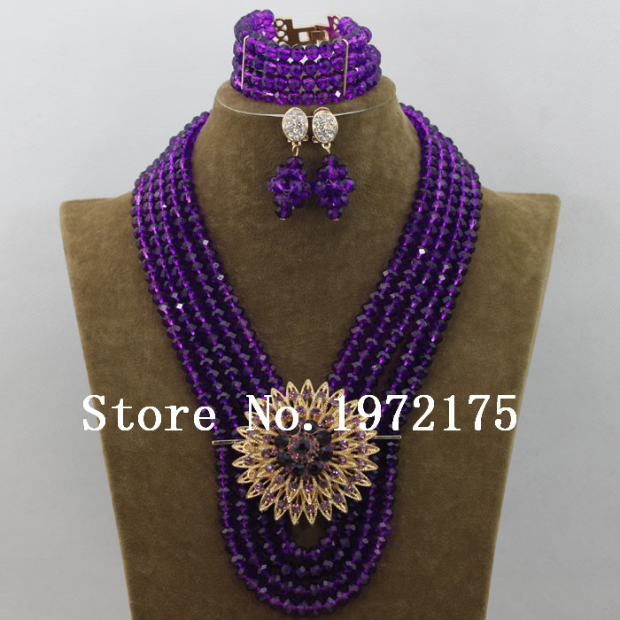 Purple Beads Jewellery Set Native Indian Jewelry 8MM Nigerian ...