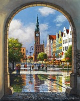 City Square DIY Painting By Numbers Frameless Pictures Digital Canvas Oil Painting Europe Home Decoration For