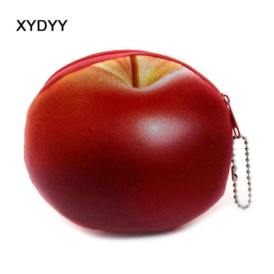 XYDYY Cute 3D Red Apple Prints Women Plush Coin Purse Mini Zipper Kids Coin Purse Girls Christmas Fruit Pouch Purse for Gift