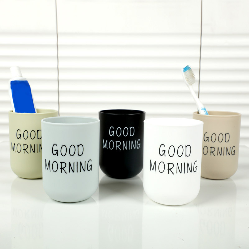 Bathroom Tumblers Toothbrush Cup Holder Nordic Travel Portable Washing Cup Good Morning Couple Tooth Brush Storage Organizer Cup