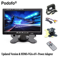 Podofo 7 ''จอแอลซีดีHDรถมองหลังตรวจสอบหน้าจอHDMI VGAดีวีดีจอแสดงผลดิจิตอล,รถกล้องสำรอง+การควบคุมระยะไ...