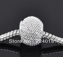 Free Shipping!50pcs/12x10mm Wholesale  Silver Plated Mesh Spacer Beads Fit European Charm Bracelet DIY,B1102#