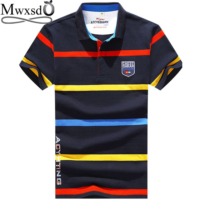 d55228642a5 Mwxsd brand men striped embroidered polo shirts mens slim fit Polo hombre  polos homme marque de luxe Tops tees