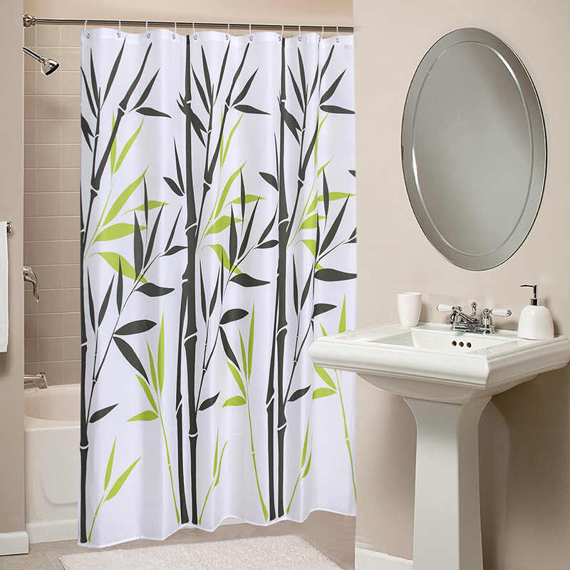 Detail Feedback Questions About Green Bamboo Design Shower Curtain Polyester Fabric Thick Waterproof Bath Mold Simple Bathroom Set Partition