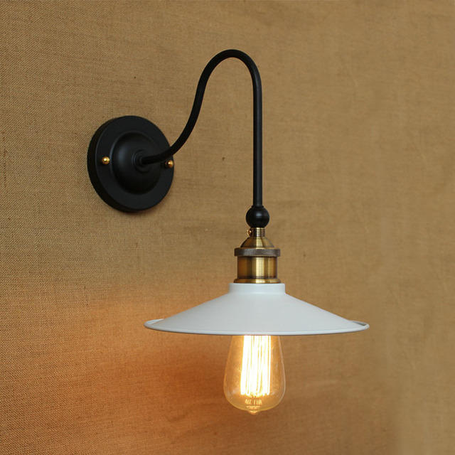 Black white iron wall light vintage dia 22cm metal lampshade ...