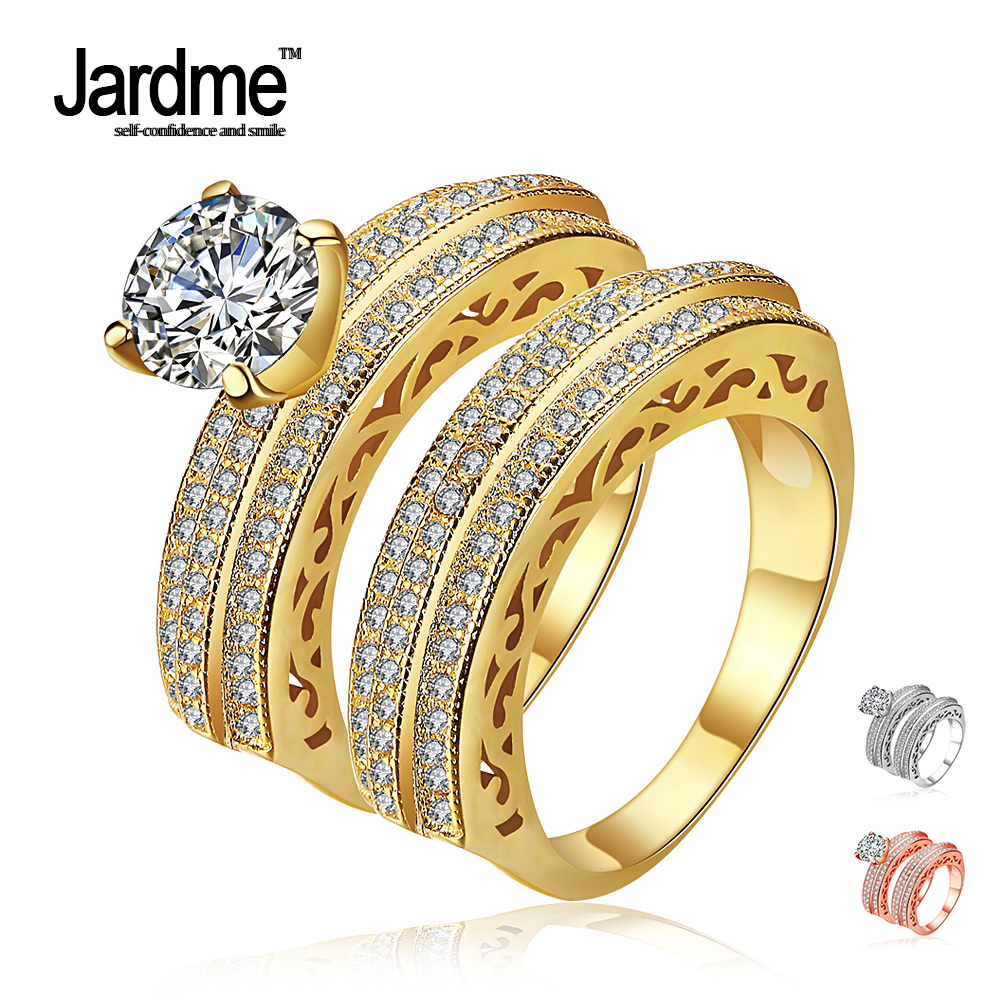 jardme jewelry promise engagement crystal double rings for. Black Bedroom Furniture Sets. Home Design Ideas