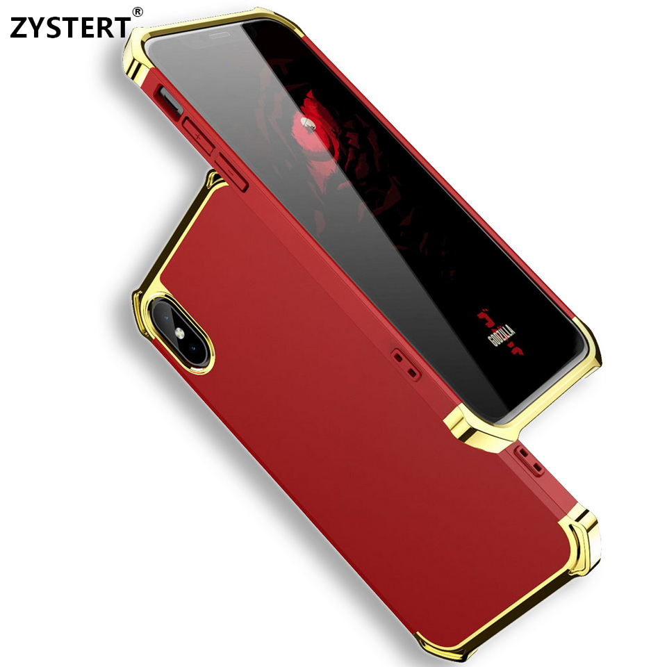 Capa Fake Metal Case Slim Airbag Silicone 3 in 1 Plastic Armor Shockproof Back Cover Funda For Apple iPhone X/10 Ten Coque Capa