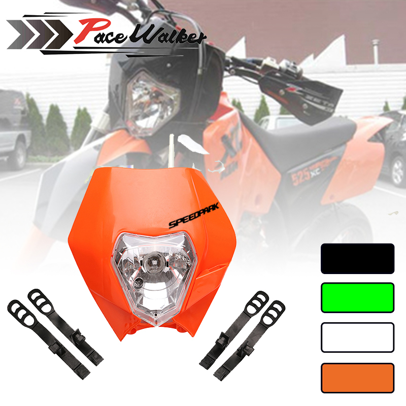 12v 35W 4 color Motorcycle <font><b>Dirt</b></font> <font><b>Bike</b></font> Motocross Supermoto <font><b>Universal</b></font> <font><b>Headlight</b></font> Fairing for KTM SX EXC image