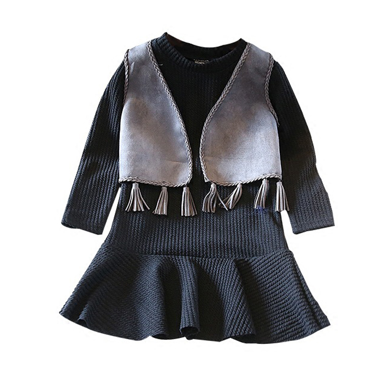 Girls Clothes Sets Fashion Europe The United States Style Princess Suede Tassel Horse Clip+Long-sleeved Dress Kids Clothes купить