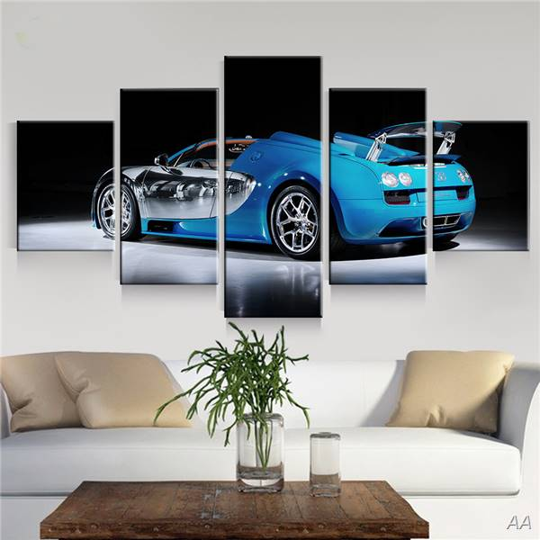 5 Panel Blue Sport Car Wall Art Picture Home Decoration Living Room Canvas Painting Wall Picture Print On Canvas Unframed GIFT