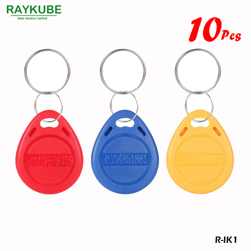 RAYKUBE 125Khz RFID Proximity Keyfobs 10Pcs/Lot TK4100 EM Keytags RFID For Access Control Keyfobs R-IK1 RAYKUBE 125Khz RFID Proximity Keyfobs 10Pcs/Lot TK4100 EM Keytags RFID For Access Control Keyfobs R-IK1