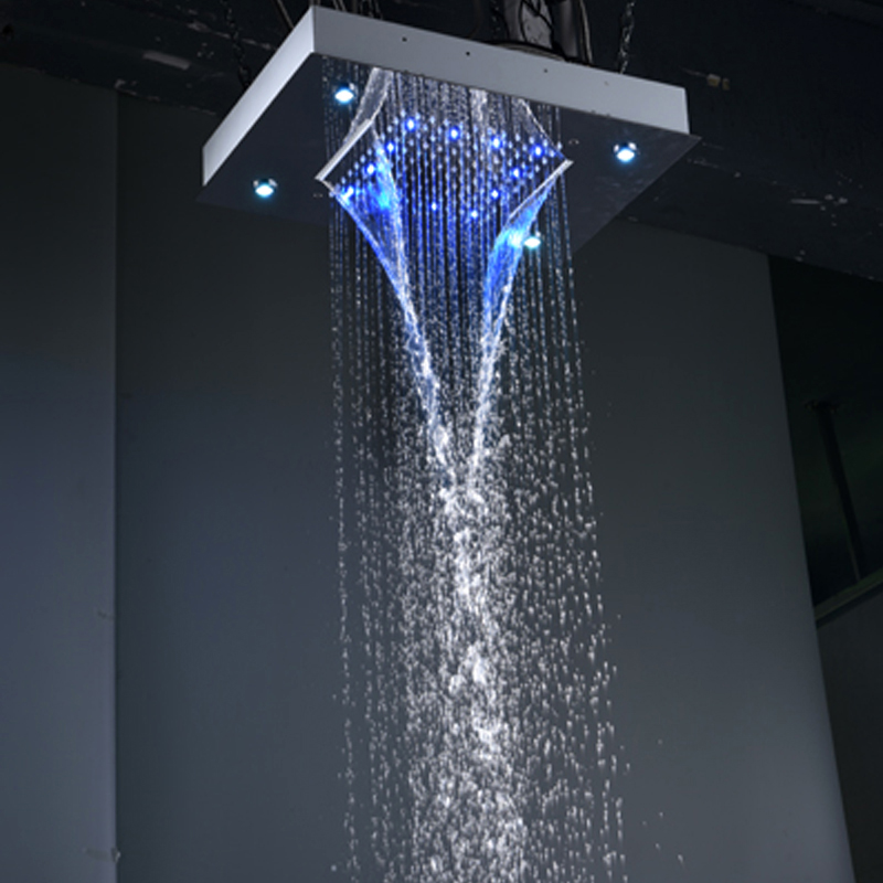 Modern Showers Ceiling Rain Overhead Shower LED Light Auto Change 360*500mm  Waterfall Shower Head Tubs Showers In Shower Heads From Home Improvement On  ...